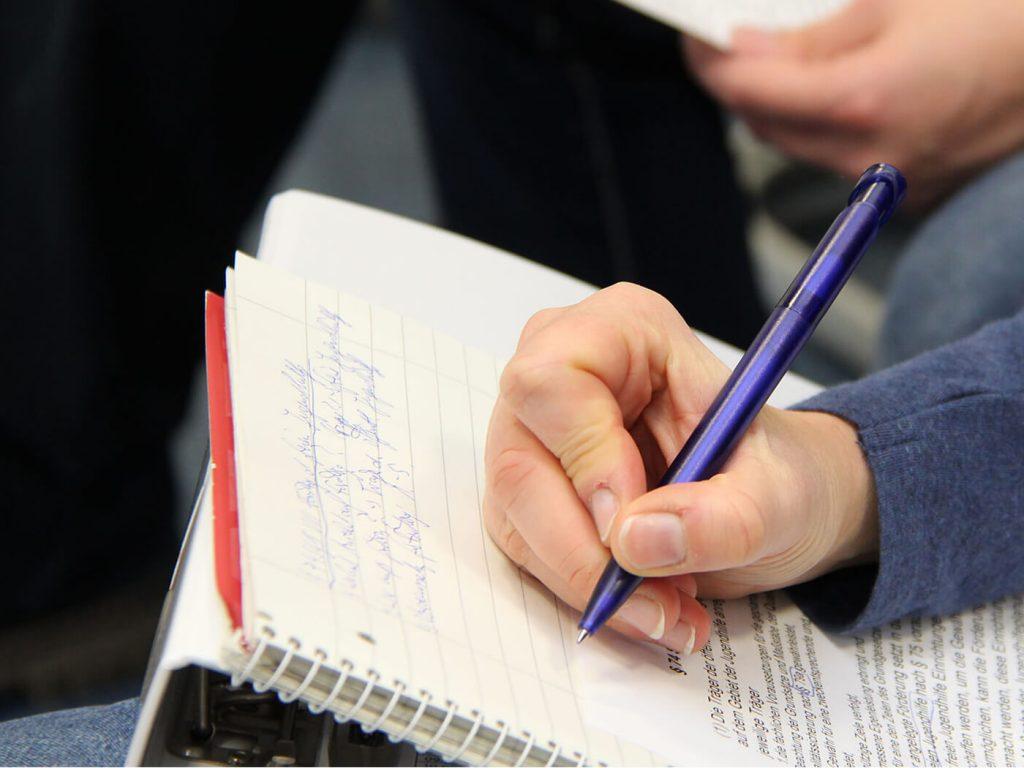 Notizen im Seminar