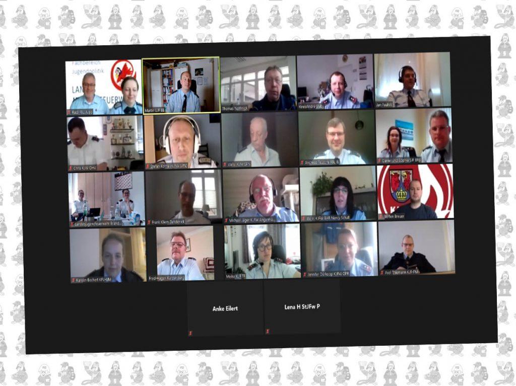 Screenshot Kreis und Stadtjugendfeuerwehrwarte bei der Videokonferenz